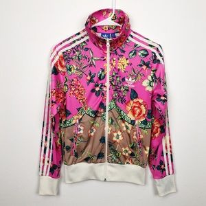 2ac78fc4ddc Adidas Floral Zip Up Track Jacket Size Small